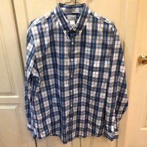 L.L. Bean Blue Plaid Button Down Shirt Medium